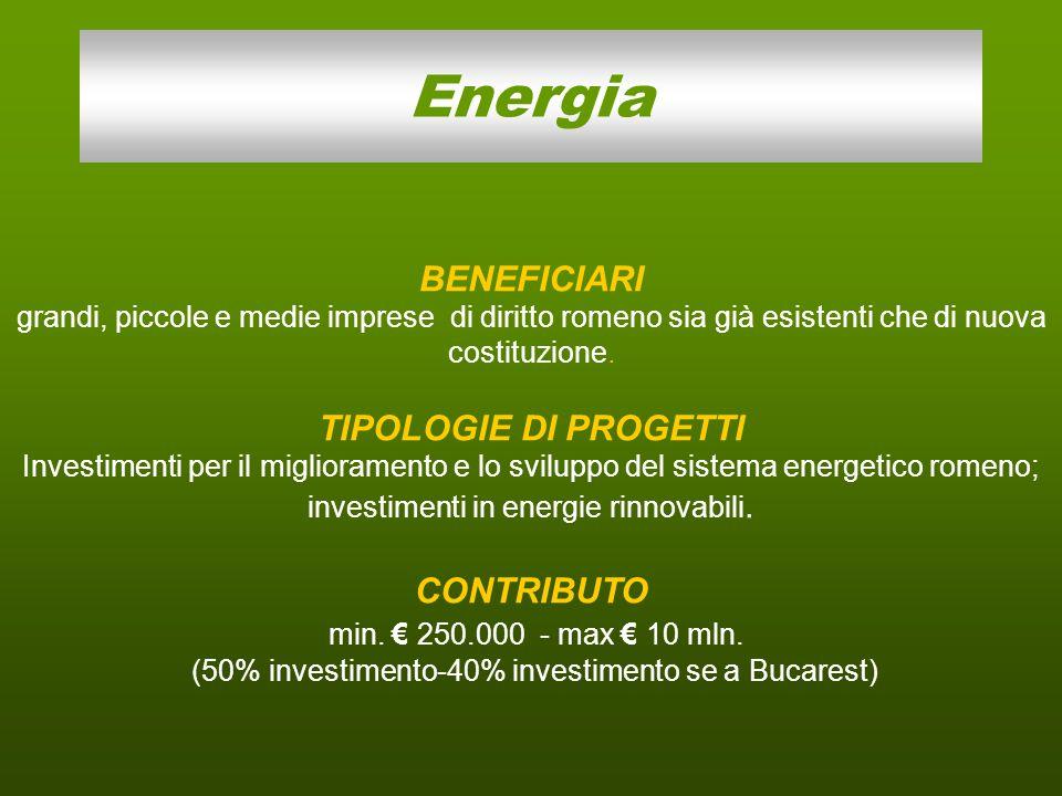 Obiettivo Miglioramento dell'efficienza energetica e sviluppo sostenibile del sistema energetico e sviluppo sostenibile del sistema energetico dal punto di vista ambientale dal punto di vista ambientale Investimenti in installazioni e apparecchiature che portino al risparmio energetico a favore di imprese del settore 47 milioni di euro circa (173 milioni di lei) 10 milioni di euro circa (35.5 milioni di lei) Asse prioritario 4 campo di intervento 1: Efficienza Energetica 50% spese ammissibili 40% spese ammissibili se a Bucarest 3-5 anni Durata progetto Valore max finanziabile Valore max del contributo Budget disponibile Tipologia di progetto