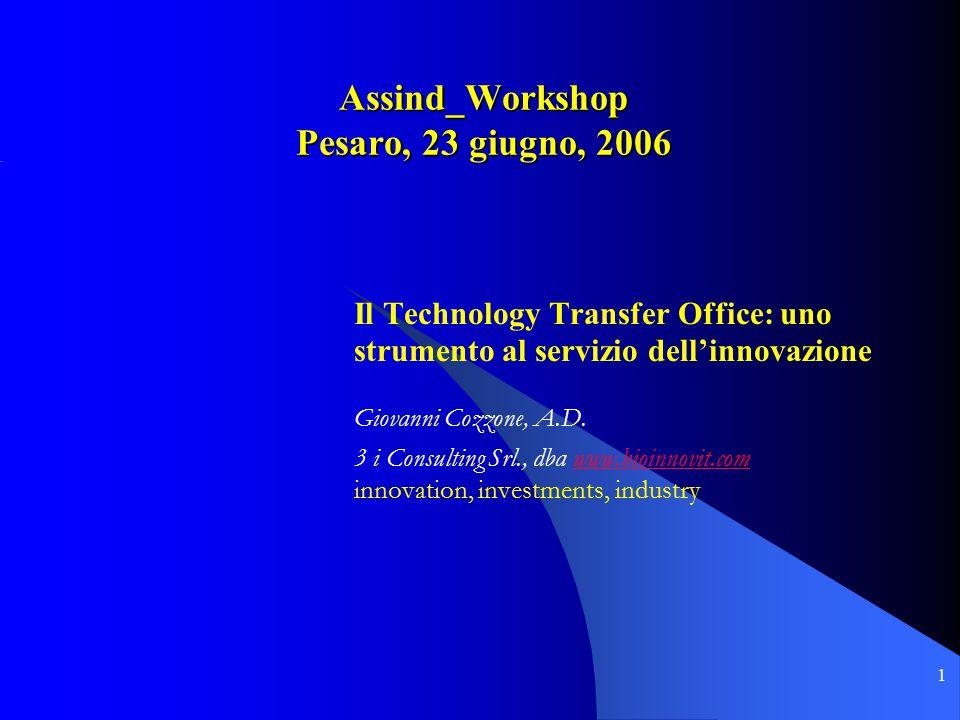 1 Assind_Workshop Pesaro, 23 giugno, 2006 Il Technology Transfer Office: uno strumento al servizio dell'innovazione Giovanni Cozzone, A.D.