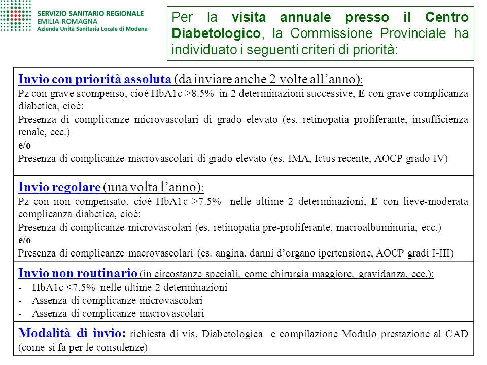 Per la visita annuale presso il Centro Diabetologico, la Commissione Provinciale ha individuato i seguenti criteri di priorità: Invio con priorità ass