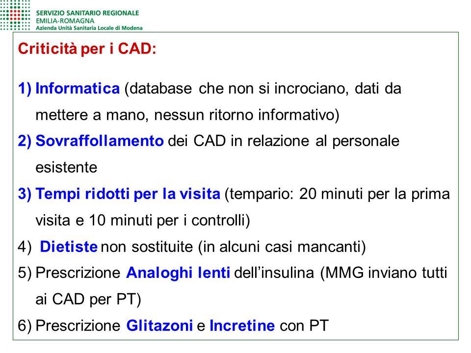 Criticità per i CAD: 1)Informatica (database che non si incrociano, dati da mettere a mano, nessun ritorno informativo) 2)Sovraffollamento dei CAD in