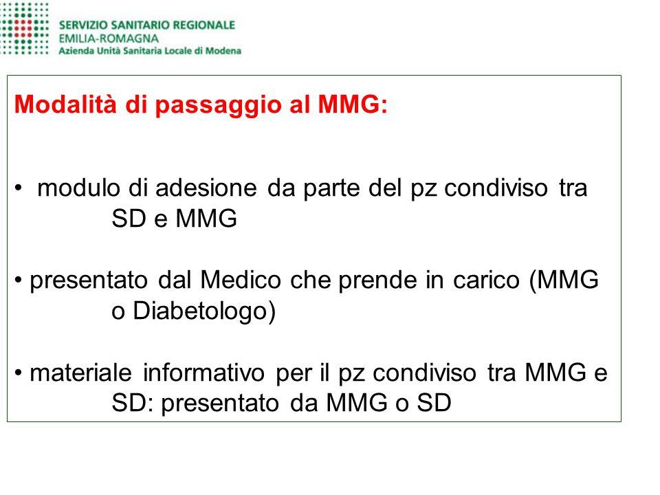 Modalità di passaggio al MMG: modulo di adesione da parte del pz condiviso tra SD e MMG presentato dal Medico che prende in carico (MMG o Diabetologo)