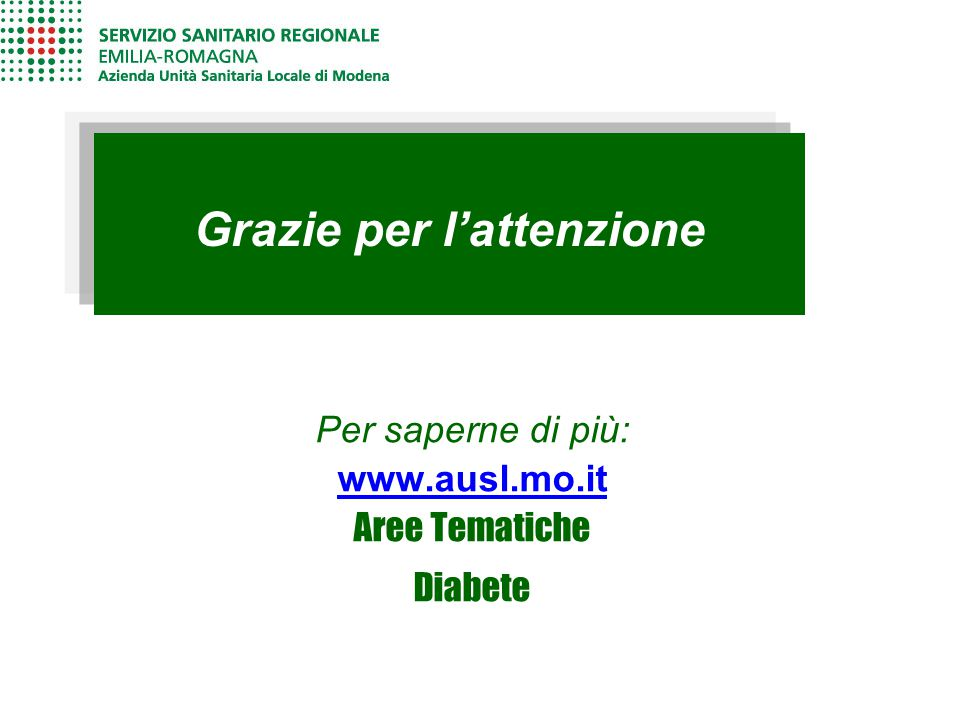 Grazie per l'attenzione Per saperne di più: www.ausl.mo.it Aree Tematiche Diabete