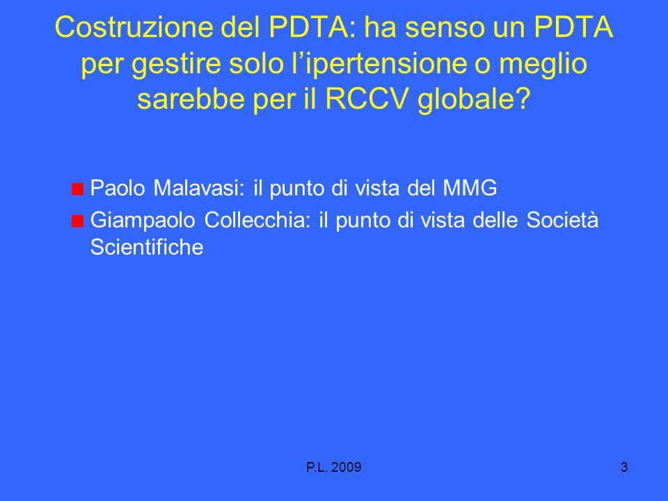 P.L. 20093 Costruzione del PDTA: ha senso un PDTA per gestire solo l'ipertensione o meglio sarebbe per il RCCV globale? Paolo Malavasi: il punto di vi