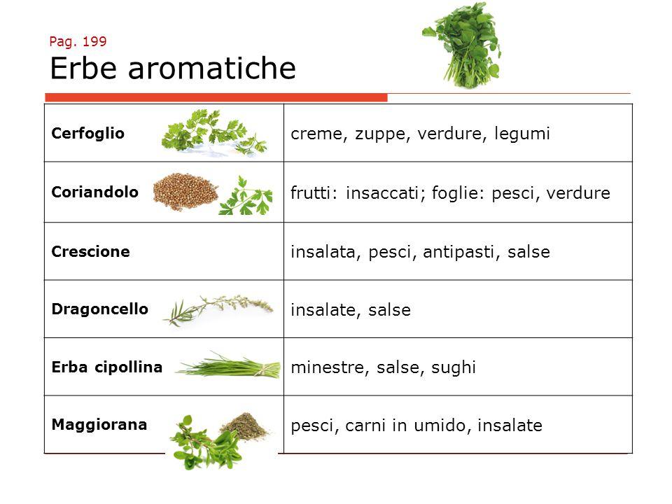 Pag. 199 Erbe aromatiche Cerfoglio creme, zuppe, verdure, legumi Coriandolo frutti: insaccati; foglie: pesci, verdure Crescione insalata, pesci, antip