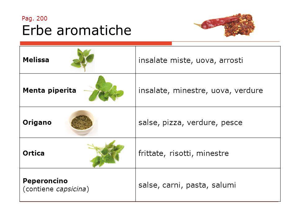 Pag. 200 Erbe aromatiche Melissa insalate miste, uova, arrosti Menta piperita insalate, minestre, uova, verdure Origano salse, pizza, verdure, pesce O