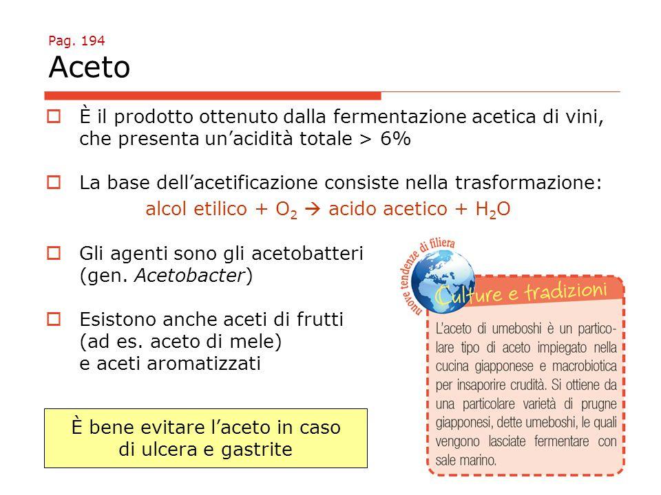 Pag. 194 Aceto  È il prodotto ottenuto dalla fermentazione acetica di vini, che presenta un'acidità totale > 6%  La base dell'acetificazione consist