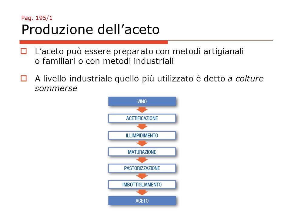 Pag. 195/1 Produzione dell'aceto  L'aceto può essere preparato con metodi artigianali o familiari o con metodi industriali  A livello industriale qu