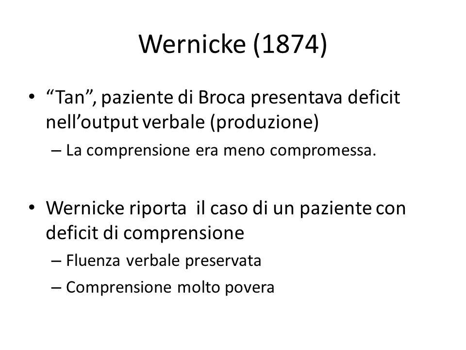 """Wernicke (1874) """"Tan"""", paziente di Broca presentava deficit nell'output verbale (produzione) – La comprensione era meno compromessa. Wernicke riporta"""