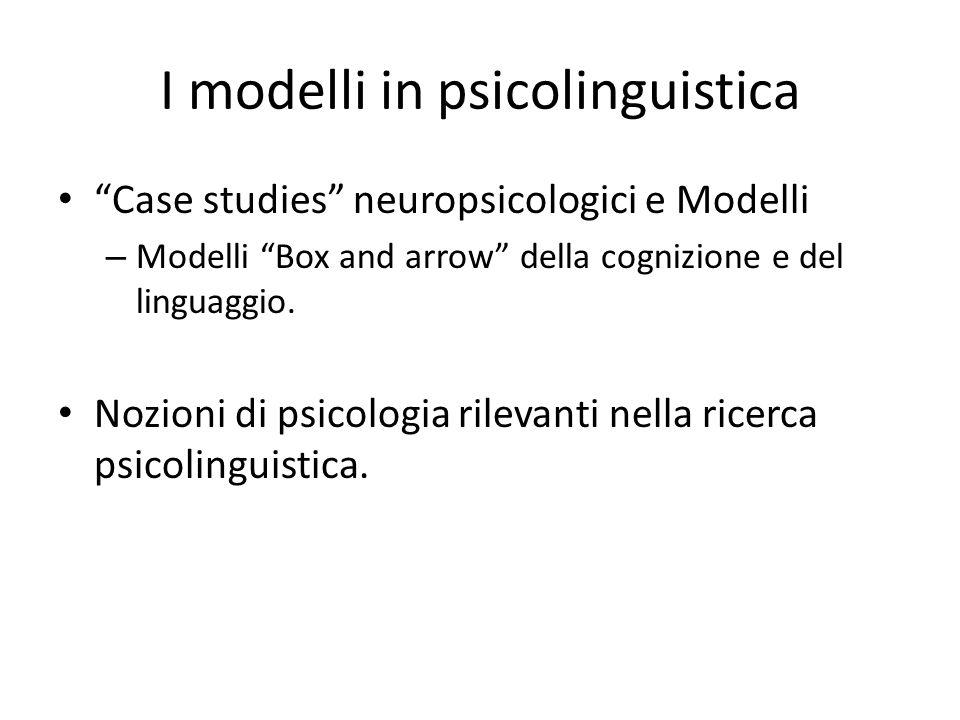 """I modelli in psicolinguistica """"Case studies"""" neuropsicologici e Modelli – Modelli """"Box and arrow"""" della cognizione e del linguaggio. Nozioni di psicol"""