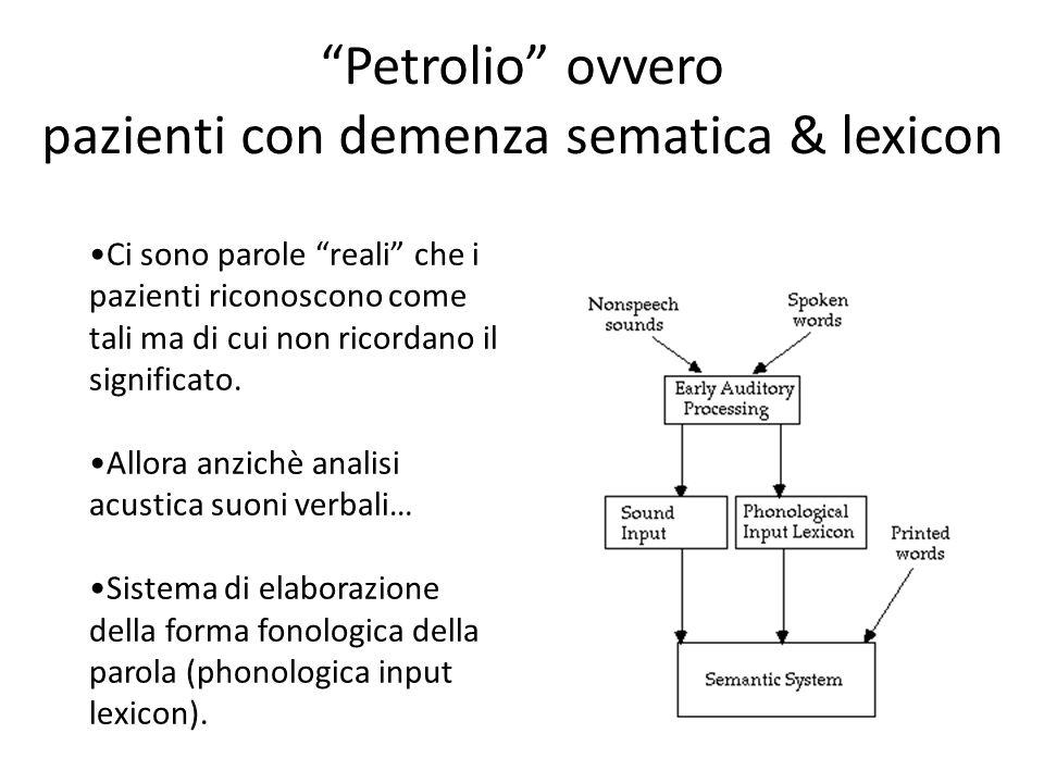 """""""Petrolio"""" ovvero pazienti con demenza sematica & lexicon Ci sono parole """"reali"""" che i pazienti riconoscono come tali ma di cui non ricordano il signi"""