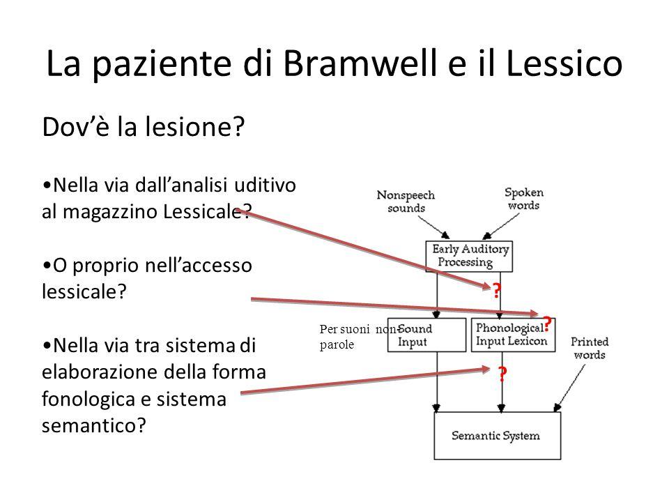 La paziente di Bramwell e il Lessico Dov'è la lesione? Nella via dall'analisi uditivo al magazzino Lessicale? O proprio nell'accesso lessicale? Nella