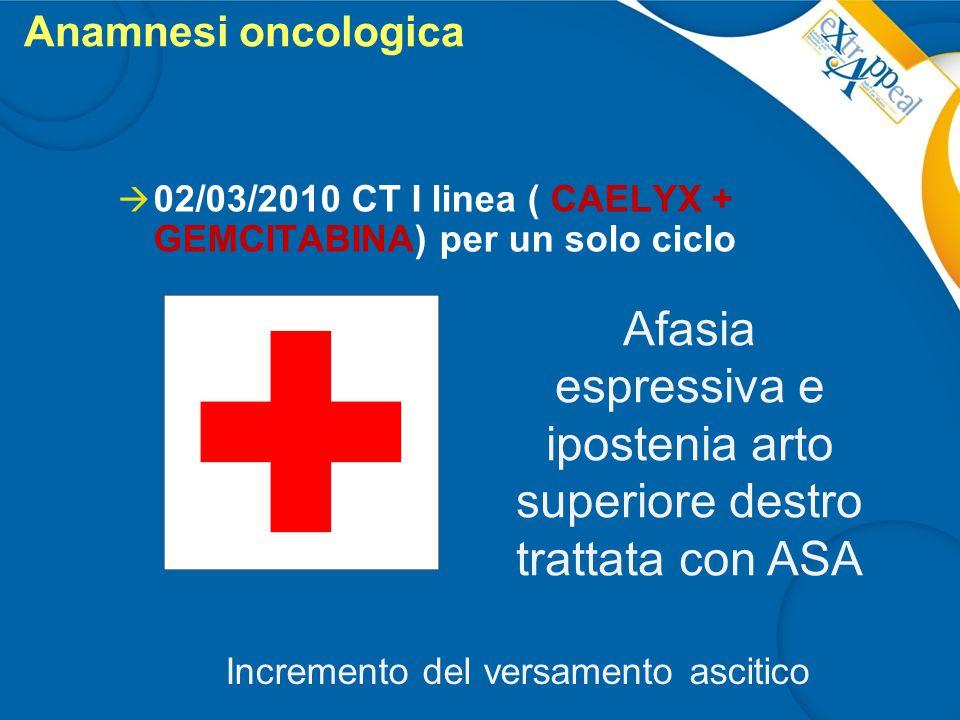 Anamnesi oncologica  02/03/2010 CT I linea ( CAELYX + GEMCITABINA) per un solo ciclo Afasia espressiva e ipostenia arto superiore destro trattata con