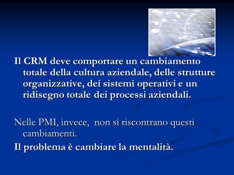 Il CRM deve comportare un cambiamento totale della cultura aziendale, delle strutture organizzative, dei sistemi operativi e un ridisegno totale dei processi aziendali.