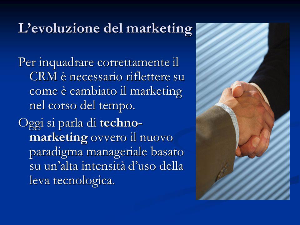 L'evoluzione del marketing Per inquadrare correttamente il CRM è necessario riflettere su come è cambiato il marketing nel corso del tempo.