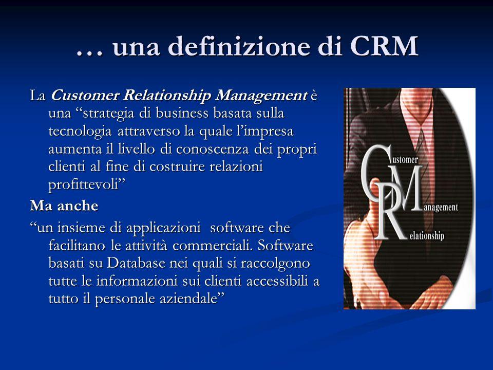 … una definizione di CRM La Customer Relationship Management è una strategia di business basata sulla tecnologia attraverso la quale l'impresa aumenta il livello di conoscenza dei propri clienti al fine di costruire relazioni profittevoli Ma anche un insieme di applicazioni software che facilitano le attività commerciali.