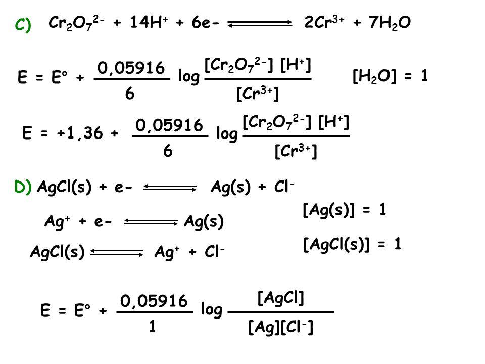 C) Cr 2 O 7 2- + 14H + + 6e- 2Cr 3+ + 7H 2 O [H 2 O] = 1 E = E° + 0,05916 6 log [Cr 2 O 7 2- ] [H + ] E = +1,36 + [Cr 3+ ] 0,05916 6 log [Cr 2 O 7 2- ] [H + ] [Cr 3+ ] D)AgCl(s) + e- Ag(s) + Cl - Ag + + e- Ag(s) AgCl(s) Ag + + Cl - [Ag(s)] = 1 [AgCl(s)] = 1 E = E° + 0,05916 1 log [AgCl] [Ag][Cl - ]