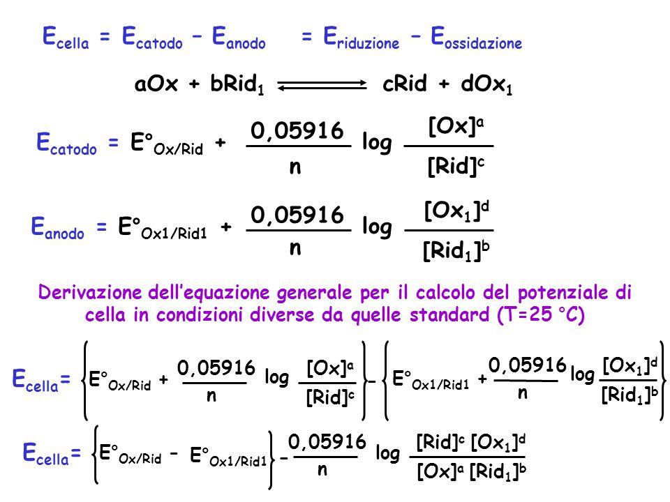 E cella = E catodo – E anodo aOx + bRid 1 cRid + dOx 1 E catodo = E° Ox/Rid + 0,05916 n log [Ox] a [Rid] c E anodo = E° Ox1/Rid1 + 0,05916 n log [Ox 1 ] d [Rid 1 ] b Derivazione dell'equazione generale per il calcolo del potenziale di cella in condizioni diverse da quelle standard (T=25 °C) = E riduzione – E ossidazione E cella = E° Ox/Rid + 0,05916 n log [Ox] a [Rid] c - E° Ox1/Rid1 + 0,05916 n log [Ox 1 ] d [Rid 1 ] b E cella = E° Ox/Rid - E° Ox1/Rid1 0,05916 n log [Ox] a [Rid] c [Ox 1 ] d [Rid 1 ] b -