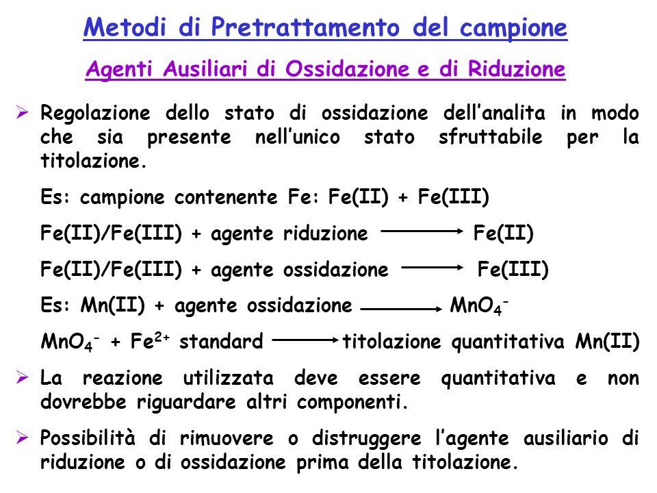 Metodi di Pretrattamento del campione Agenti Ausiliari di Ossidazione e di Riduzione  Regolazione dello stato di ossidazione dell'analita in modo che sia presente nell'unico stato sfruttabile per la titolazione.