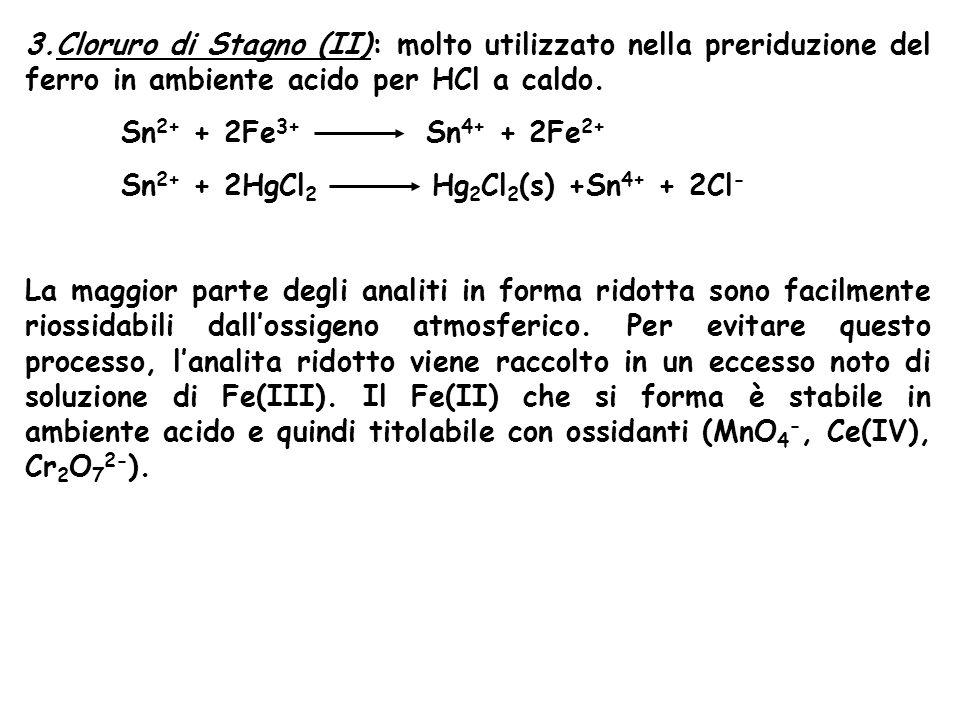 3.Cloruro di Stagno (II): molto utilizzato nella preriduzione del ferro in ambiente acido per HCl a caldo.