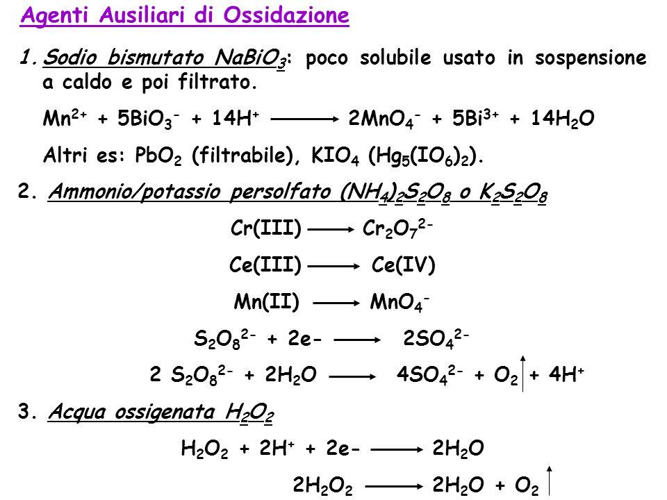 Agenti Ausiliari di Ossidazione 1.Sodio bismutato NaBiO 3 : poco solubile usato in sospensione a caldo e poi filtrato.