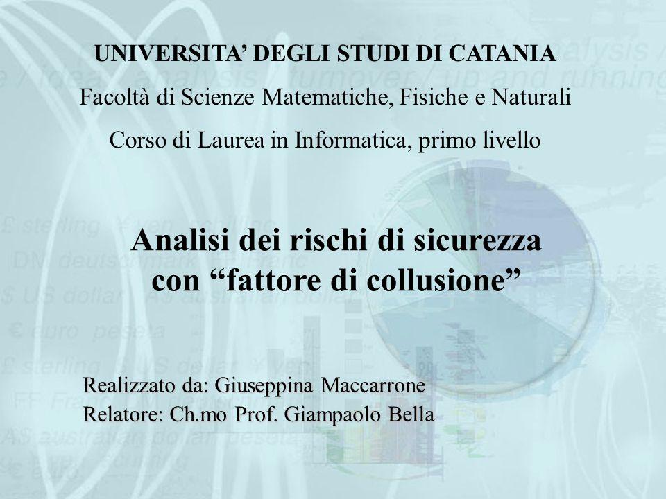UNIVERSITA' DEGLI STUDI DI CATANIA Facoltà di Scienze Matematiche, Fisiche e Naturali Corso di Laurea in Informatica, primo livello Realizzato da: Giuseppina Maccarrone Relatore: Ch.mo Prof.