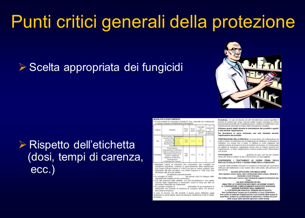  Scelta appropriata dei fungicidi  Rispetto dell'etichetta (dosi, tempi di carenza, ecc.) Punti critici generali della protezione