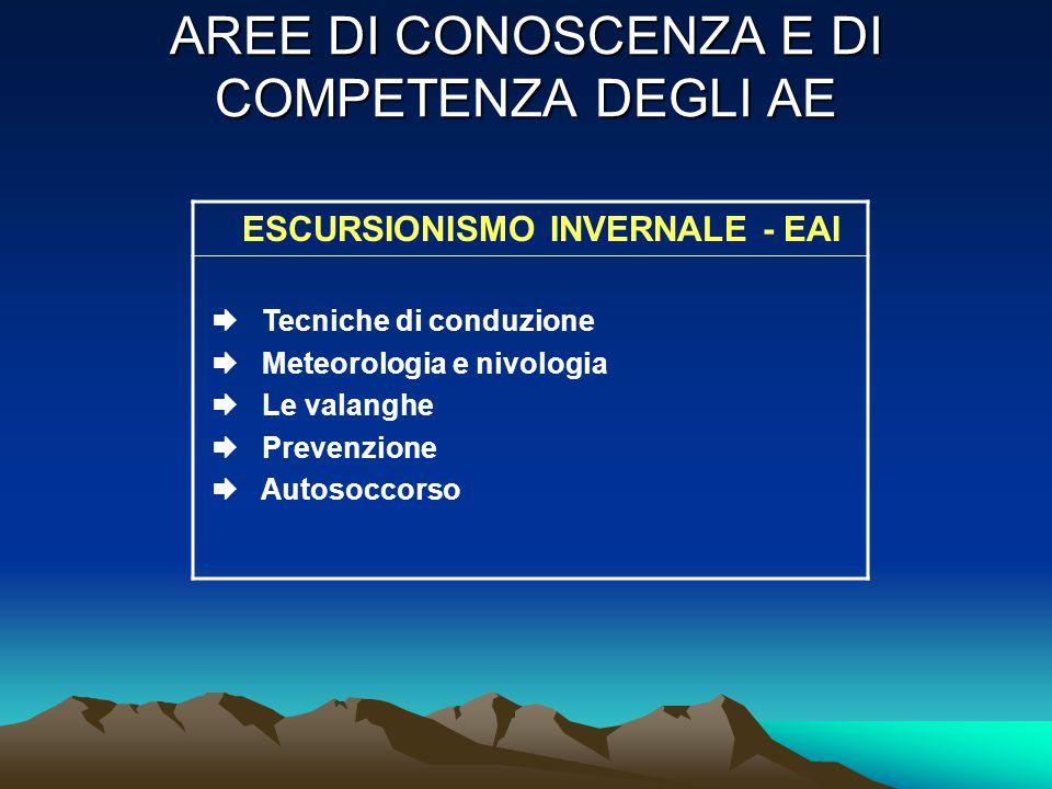 AREE DI CONOSCENZA E DI COMPETENZA DEGLI AE ESCURSIONISMO INVERNALE - EAI  Tecniche di conduzione  Meteorologia e nivologia  Le valanghe  Prevenzione  Autosoccorso
