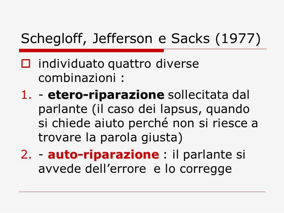 Schegloff, Jefferson e Sacks (1977)  individuato quattro diverse combinazioni : etero-riparazione 1.- etero-riparazione sollecitata dal parlante (il caso dei lapsus, quando si chiede aiuto perché non si riesce a trovare la parola giusta) auto-riparazione 2.- auto-riparazione : il parlante si avvede dell'errore e lo corregge