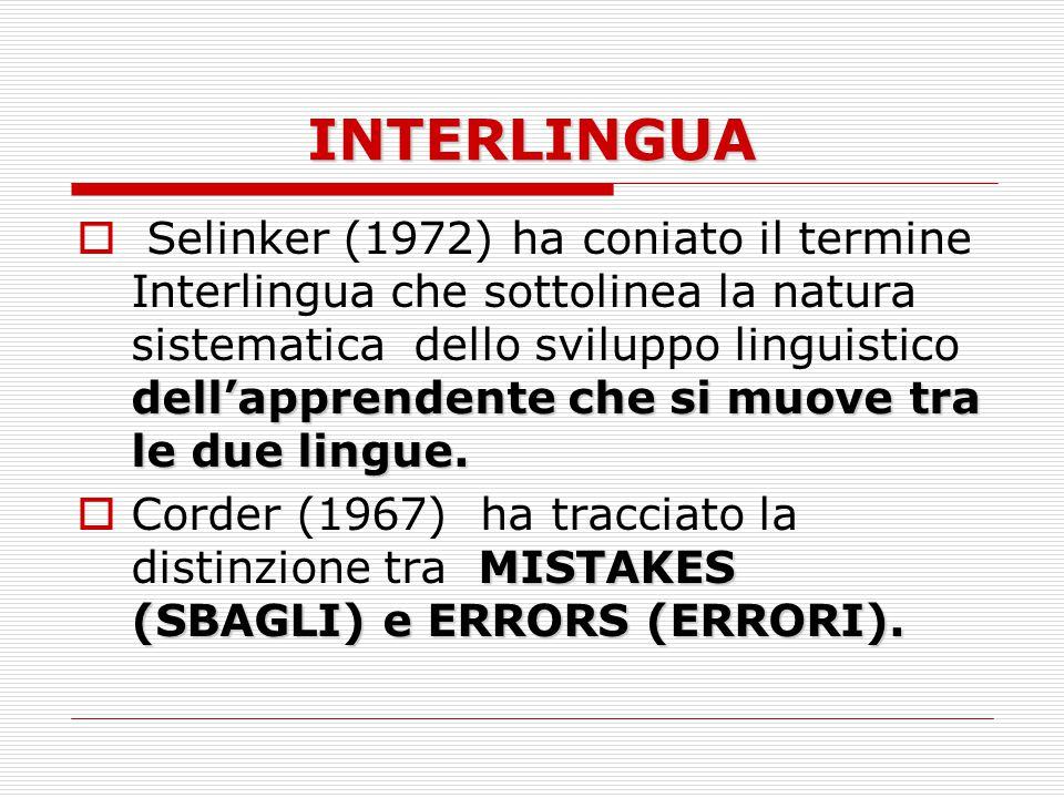 INTERLINGUA dell'apprendente che si muove tra le due lingue.