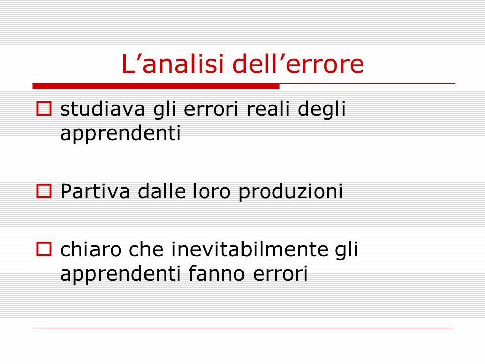 L'analisi dell'errore  studiava gli errori reali degli apprendenti  Partiva dalle loro produzioni  chiaro che inevitabilmente gli apprendenti fanno errori