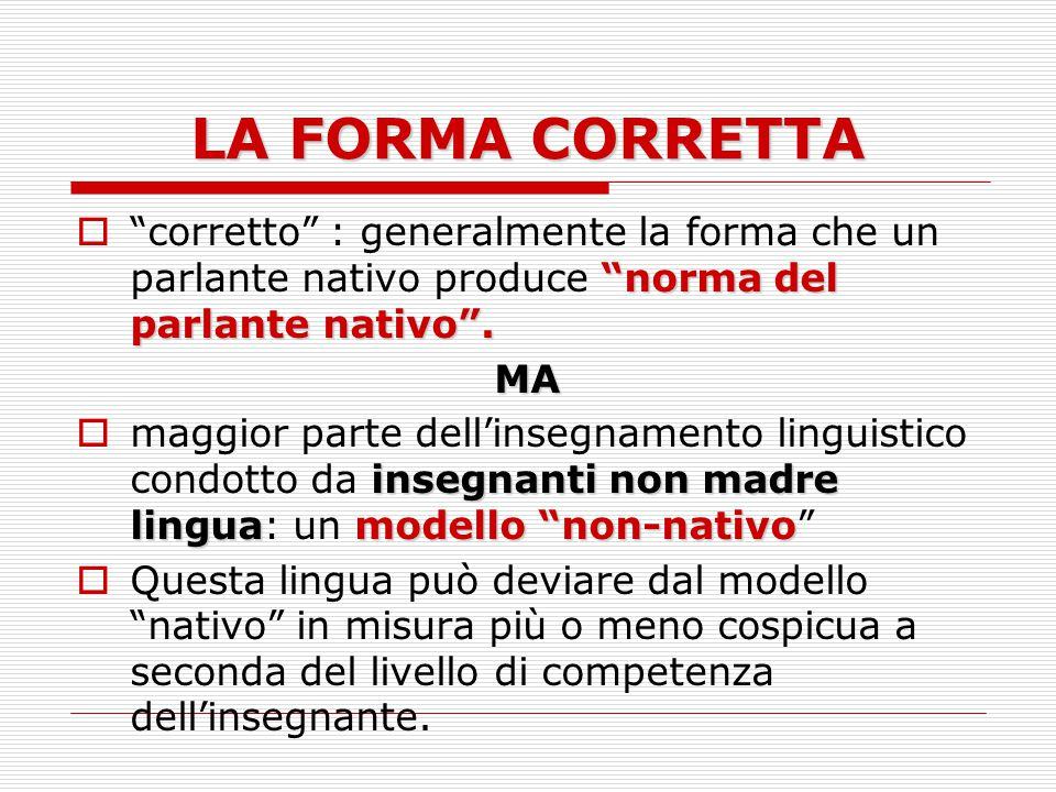 LA FORMA CORRETTA norma del parlante nativo .