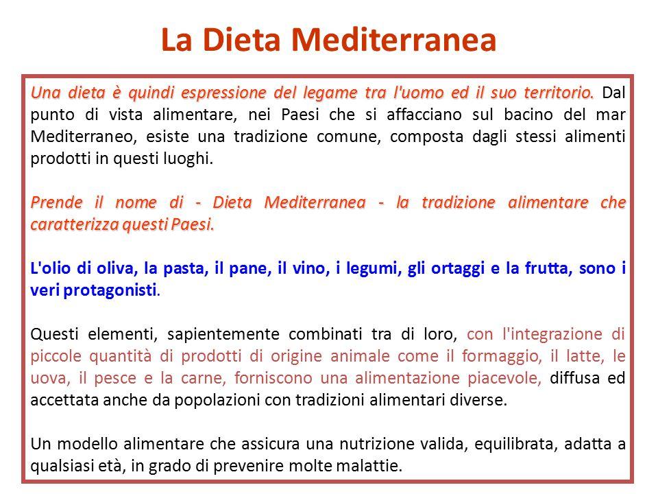Una dieta è quindi espressione del legame tra l uomo ed il suo territorio.