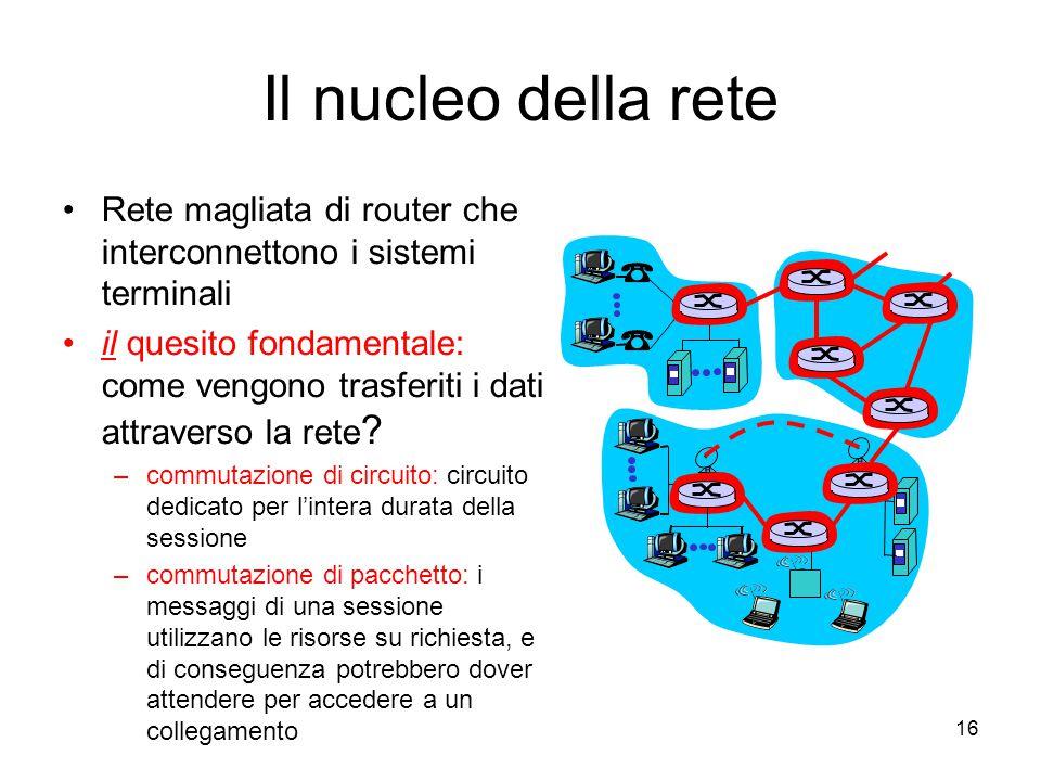16 Il nucleo della rete Rete magliata di router che interconnettono i sistemi terminali il quesito fondamentale: come vengono trasferiti i dati attrav