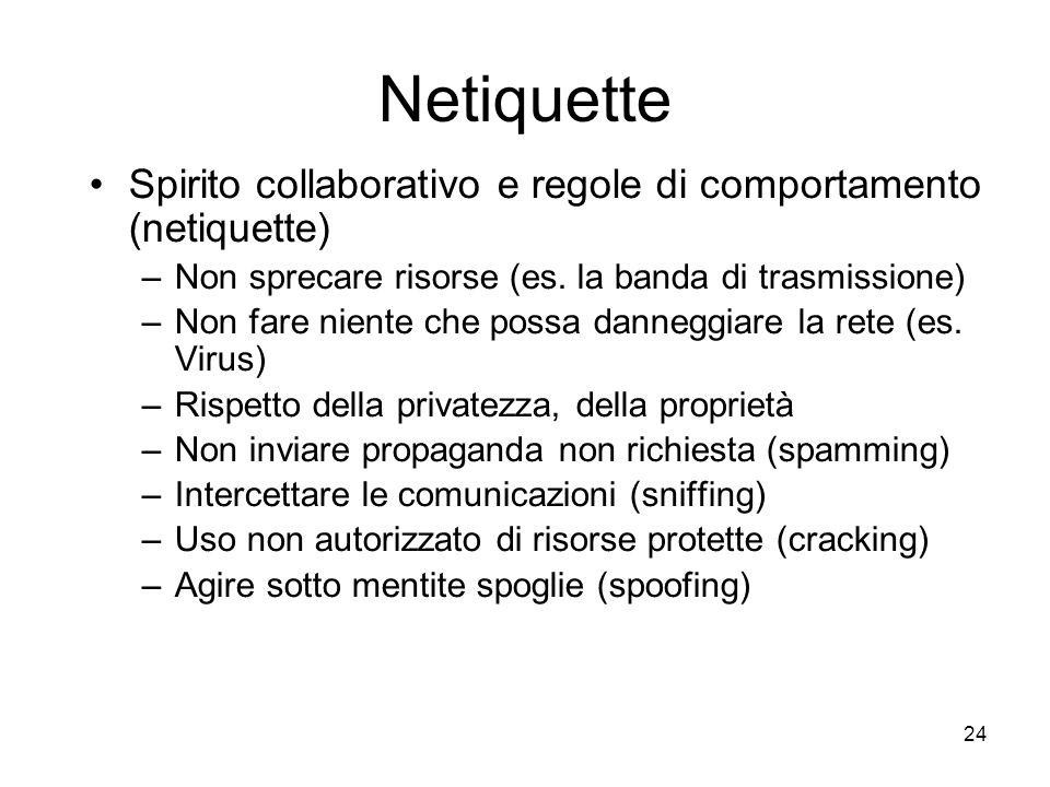 24 Netiquette Spirito collaborativo e regole di comportamento (netiquette) –Non sprecare risorse (es. la banda di trasmissione) –Non fare niente che