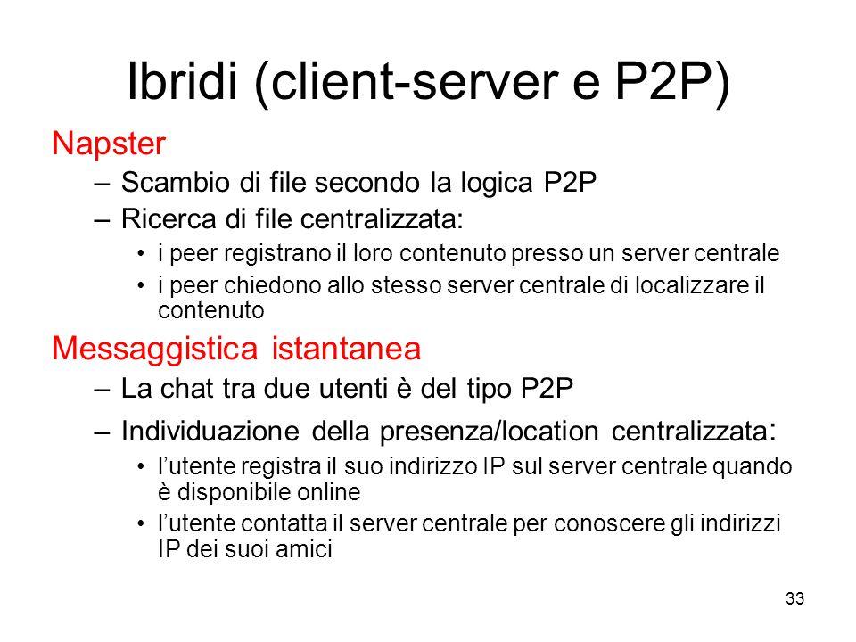 33 Ibridi (client-server e P2P) Napster –Scambio di file secondo la logica P2P –Ricerca di file centralizzata: i peer registrano il loro contenuto pr