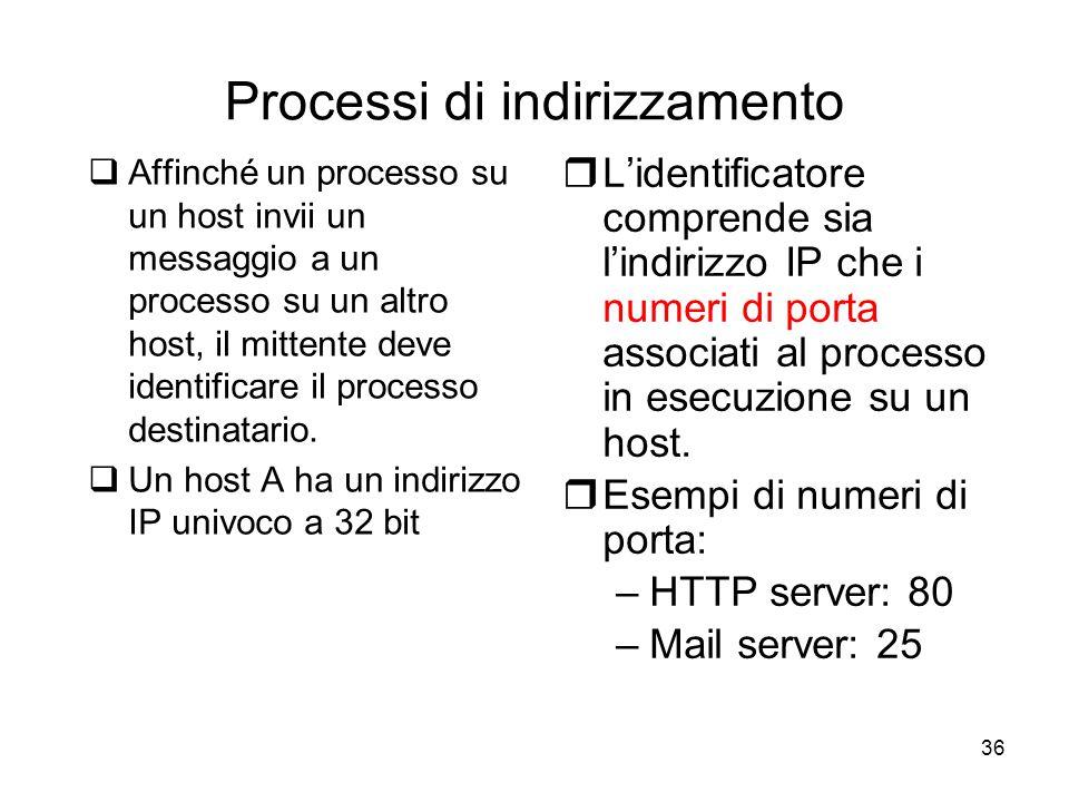 36 Processi di indirizzamento  Affinché un processo su un host invii un messaggio a un processo su un altro host, il mittente deve identificare il pr