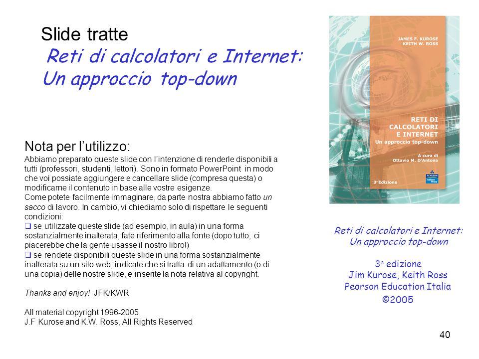 40 Reti di calcolatori e Internet: Un approccio top-down 3 a edizione Jim Kurose, Keith Ross Pearson Education Italia ©2005 Nota per l'utilizzo: Abbia
