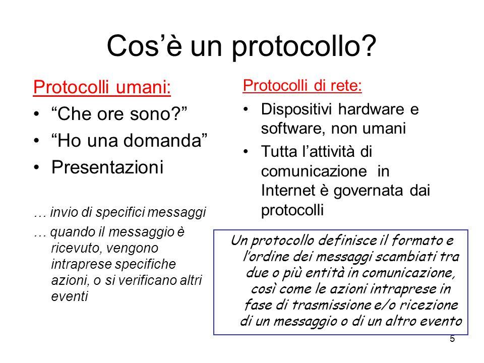 """5 Cos'è un protocollo? Protocolli umani: """"Che ore sono?"""" """"Ho una domanda"""" Presentazioni … invio di specifici messaggi … quando il messaggio è ricevuto"""