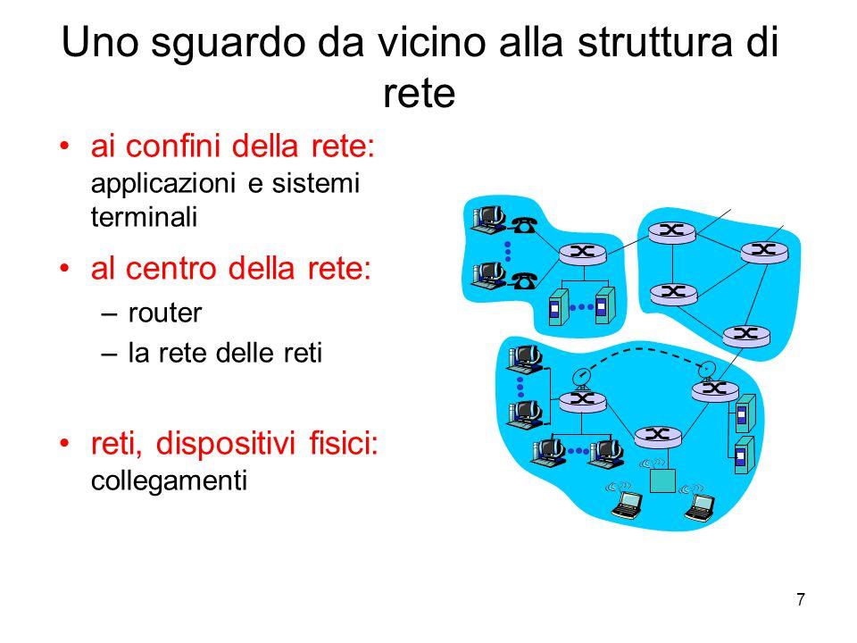 7 Uno sguardo da vicino alla struttura di rete ai confini della rete: applicazioni e sistemi terminali al centro della rete: –router –la rete delle re
