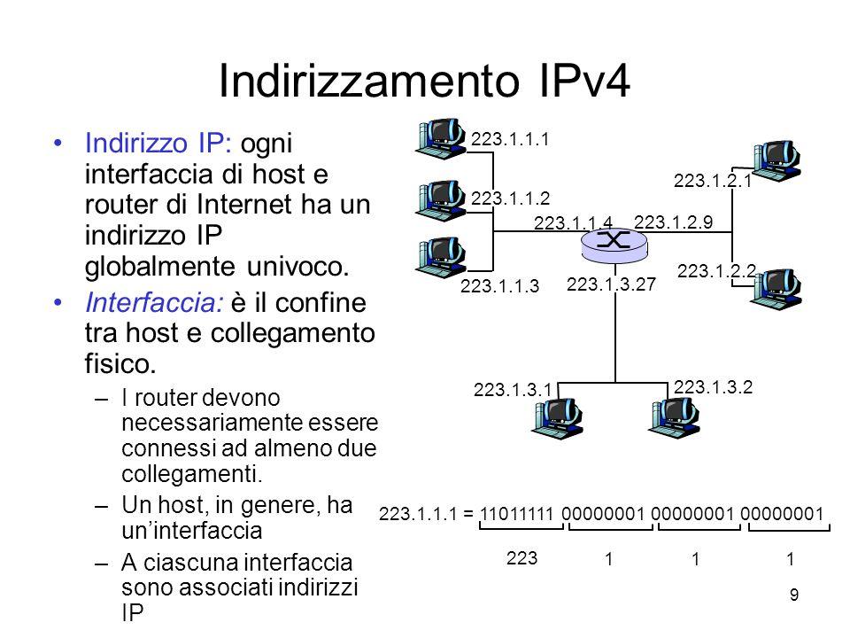 20 Accesso aziendale: reti locali (LAN) Una LAN collega i sistemi terminali di aziende e università al router Ethernet: –un canale condiviso o dedicato collega i sistemi terminali ai router –10 Mbs, 100 Mbps, Gigabit Ethernet