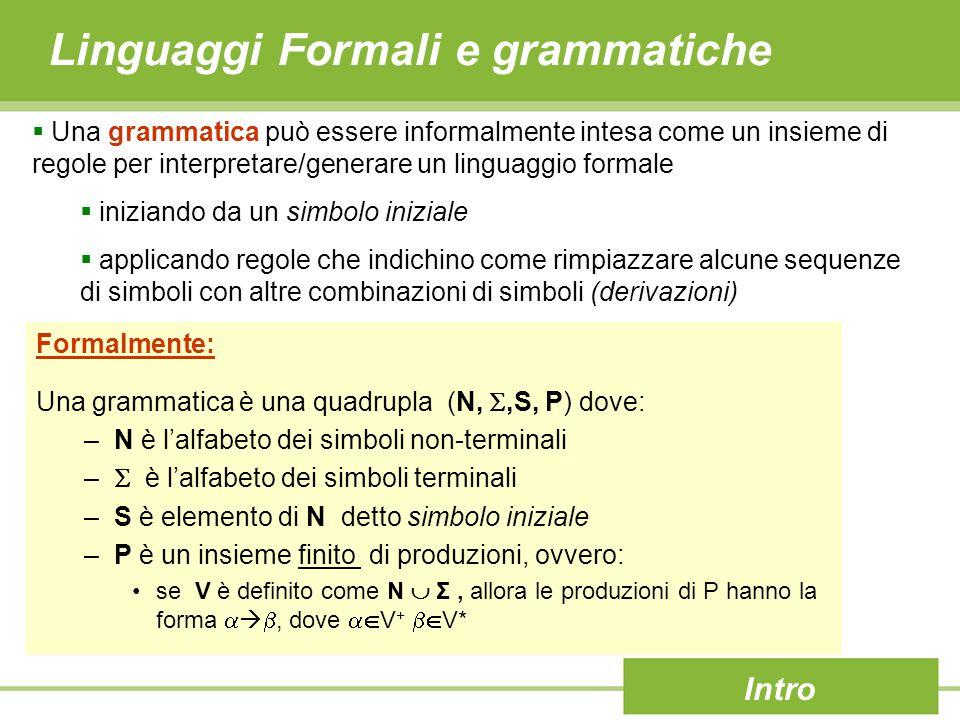 Linguaggi Formali e grammatiche Intro  Una grammatica può essere informalmente intesa come un insieme di regole per interpretare/generare un linguaggio formale  iniziando da un simbolo iniziale  applicando regole che indichino come rimpiazzare alcune sequenze di simboli con altre combinazioni di simboli (derivazioni) Formalmente: Una grammatica è una quadrupla (N, ,S, P) dove: –N è l'alfabeto dei simboli non-terminali –  è l'alfabeto dei simboli terminali –S è elemento di N detto simbolo iniziale –P è un insieme finito di produzioni, ovvero: se V è definito come N  Σ, allora le produzioni di P hanno la forma   , dove  V +  V*