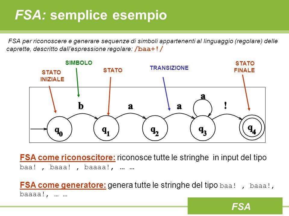 FSA: semplice esempio FSA per riconoscere e generare sequenze di simboli appartenenti al linguaggio (regolare) delle caprette, descritto dall'espressione regolare: /baa+!/ STATO INIZIALE TRANSIZIONE STATO STATO FINALE SIMBOLO FSA come riconoscitore: riconosce tutte le stringhe in input del tipo baa!, baaa!, baaaa!, … … FSA come generatore: genera tutte le stringhe del tipo baa!, baaa!, baaaa!, … … FSA