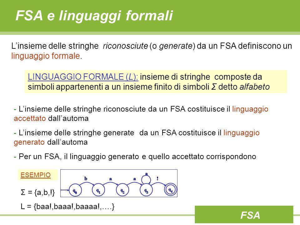 FSA e linguaggi formali L'insieme delle stringhe riconosciute (o generate) da un FSA definiscono un linguaggio formale. - L'insieme delle stringhe ric