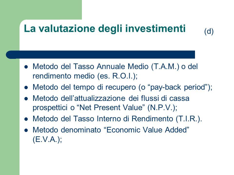 """La valutazione degli investimenti Metodo del Tasso Annuale Medio (T.A.M.) o del rendimento medio (es. R.O.I.); Metodo del tempo di recupero (o """"pay-ba"""