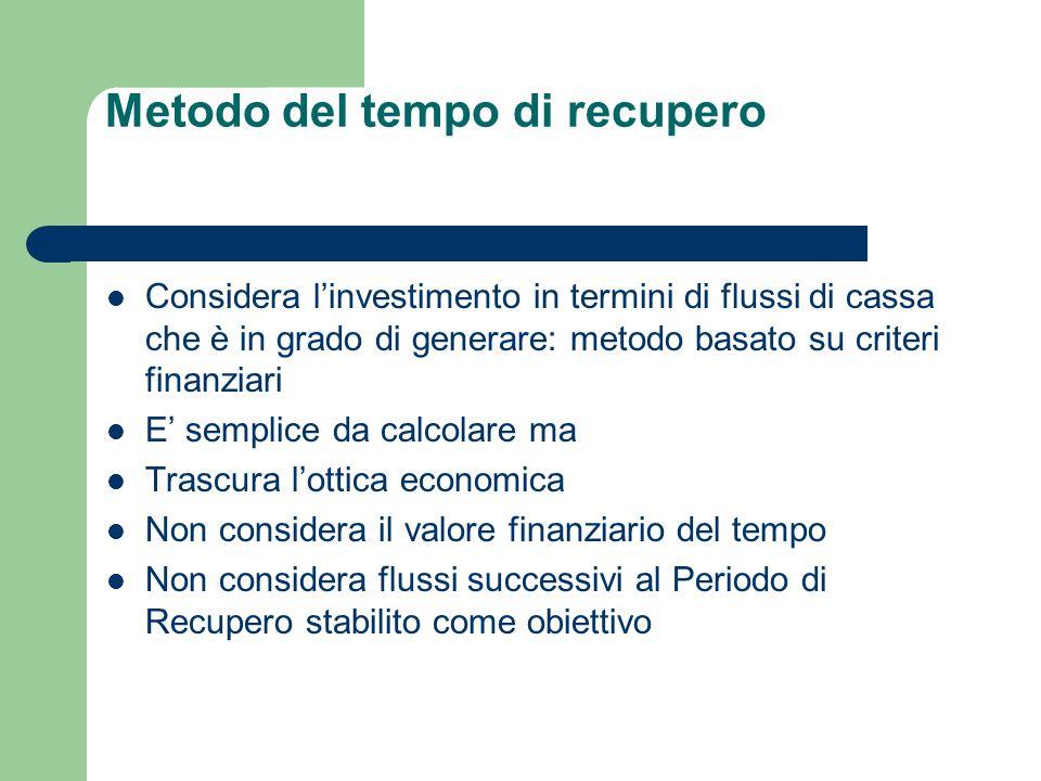 Considera l'investimento in termini di flussi di cassa che è in grado di generare: metodo basato su criteri finanziari E' semplice da calcolare ma Tra