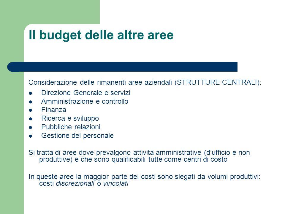 Il budget delle altre aree Considerazione delle rimanenti aree aziendali (STRUTTURE CENTRALI): Direzione Generale e servizi Amministrazione e controll