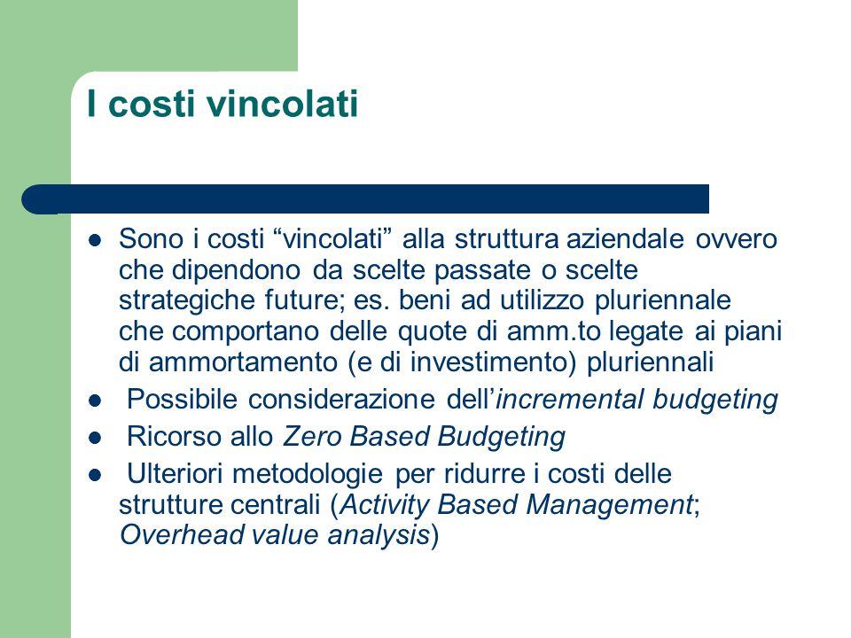 """I costi vincolati Sono i costi """"vincolati"""" alla struttura aziendale ovvero che dipendono da scelte passate o scelte strategiche future; es. beni ad ut"""