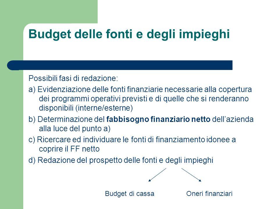 Budget delle fonti e degli impieghi Possibili fasi di redazione: a) Evidenziazione delle fonti finanziarie necessarie alla copertura dei programmi ope