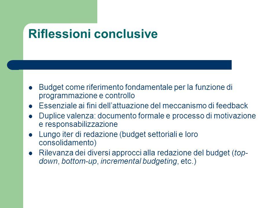 Riflessioni conclusive Budget come riferimento fondamentale per la funzione di programmazione e controllo Essenziale ai fini dell'attuazione del mecca