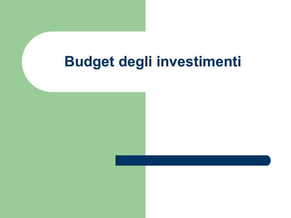 Budget degli investimenti